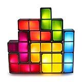 HTZ-M LED Luz Cuadrada, Luz Nocturna, Lámpara De Mesa con Bloqueo De Inducción Apilable De 7 Colores Juguete De Montaje para Niños 3D DIY Luz De Decoración De Dormitorio Juvenil