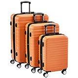AmazonBasics - Juego de 3 maletas rígidas giratorias prémium (55 cm, 68 cm, 78 cm), naranja