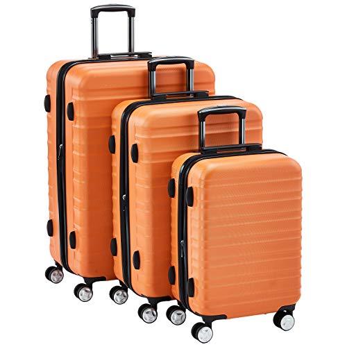 Amazon Basics - Juego de 3 maletas rígidas giratorias prémium (55 cm, 68 cm, 78 cm), naranja