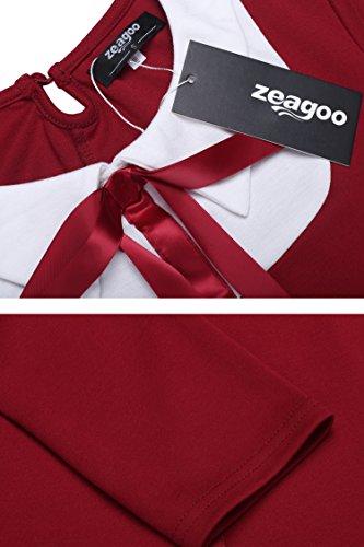 Zeagoo Damen 3/4 Ärmel Rundhals 60s Vintage Kleid Rockabilly Festliche Kleider Freizeitkleid Weinrot - 5