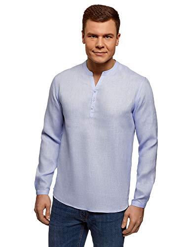 oodji Ultra Uomo Camicia in Lino Senza Colletto, Blu, 48