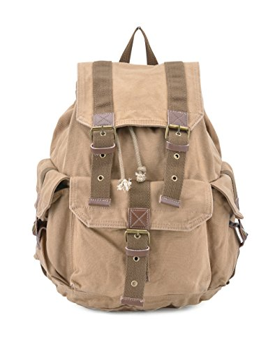 Gootium 21101 Specially High Density Thick Canvas Backpack Rucksack, Khaki, Small