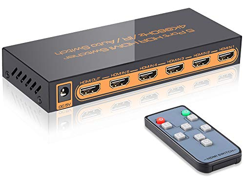 SkycropHD 4K@60Hz 5 Port HDMI Switch with Remote 5 in 1 Out 4Kx2K HDMI Auto Switcher, Support HDR10, Dolby Vision, Dolby Atmos, HDCP2.2 and CEC
