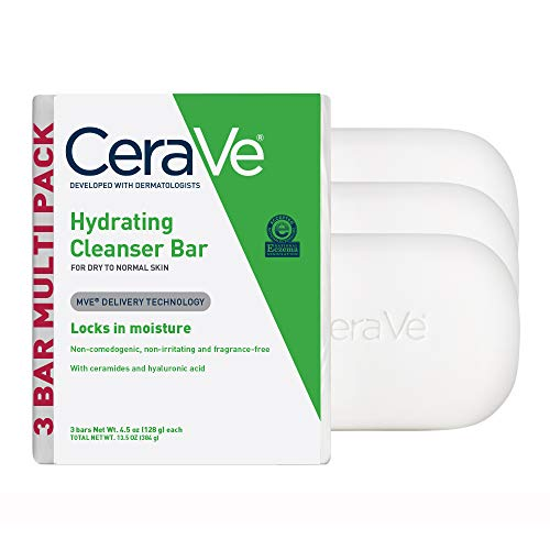 CeraVe Hydrating Cleanser Bar | Soap-Free Body and Facial Cleanser with 5% Cerave Moisturizing Cream | Fragrance-Free | Single Bar, 4.5 Ounce