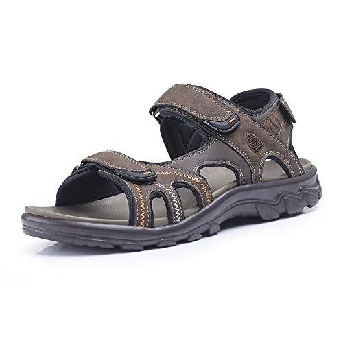 FITORY Hombres Mujeres Sandalias Deportivas Cómodo Ajustable Tres Capas de Velcro Al Aire Libre Senderismo Zapatos de Playa Marrón Tamaño 47