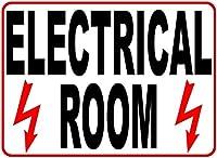 警告サイン 電気室のサイン ビジネスの安全と情報提供のサイン 道路標識 ビジネスサイン 8X12インチ アルミ金属製ブリキ看板