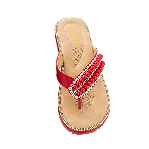 TianBin Zehentrenner Damen rutschfest Böhmen Sandalen T-Strap Lässig Flip Flops Flache mit Glitzer Perlen (Rot, 36 EU)