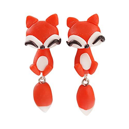 Wansan Ohrstecker Tier Ohrringe weiche Keramik handgefertigte Ohrringe für Mädchen Frauen Ohrstecker lustige Tiere Ohrringe Fimo Fuchs