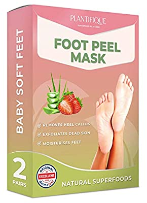 DERMATOLOGICALLY CERTIFIED EXFOLIATING Peel Mask for Baby Soft Feet by Plantifique- 10X MORE EFFECTIVE for Calluses, Dead & Dry Skin - DEEP Cracked Heel Repair by Plantifique