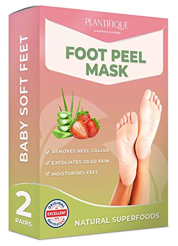 Fußmaske Erdbeere Hornhaut Socken von Plantifique - Foot Peel Mask Hornhautentferner Socken - Wirksam bei Schwielen, Abgestorbener und Trockener Haut - Tief Rissige Fersen Reparat - 2 Paare