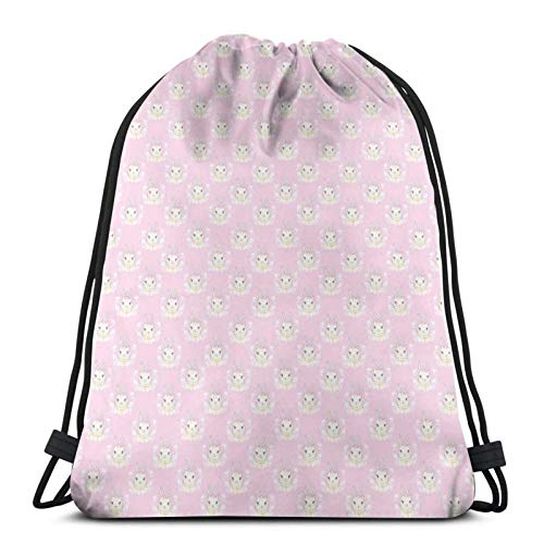 Drawstring Backpack Bags,Baby Rabbit With Ribbons Floral Spring Themed Soft Pink Tones Animals,Gym Sports String Bags Cinch Bags
