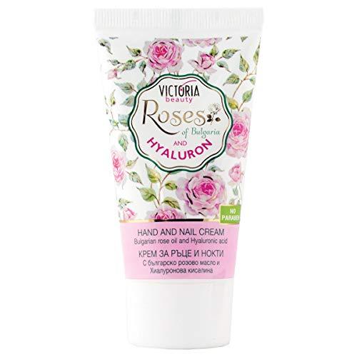 Victoria Beauty - Handcreme und Nagelcreme mit Rosenöl und Hyaluronsäure für sehr trockene und rissige Hände, Hyaluron Creme (1 x 50 ml)