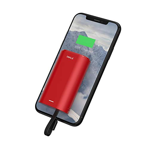 iWALK Cargador portatil movil 9000mAh Power Bank Mini bateria Externa movil Cable Incorporado Compatible con iPhone 11, XS, XR, X, 8, 8 Plus, 7, iPod, AirPods, Samsung y Otros teléfonos móviles (Rojo)