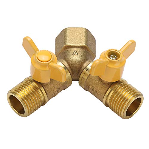 Weikeya Adaptador de grifo de 2 vías, conexión de doble grifo encendido/apagado ajustable, válvula de latón