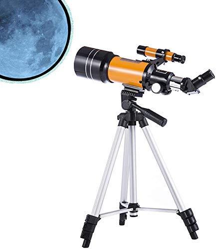 Gpzj Tragbares Reiseteleskop, 70 mm Apertur 300 mm astronomisch brechendes Teleskop mit verstellbarem Stativ, guter Partner für die Betrachtung von Mond und Planet (orange)