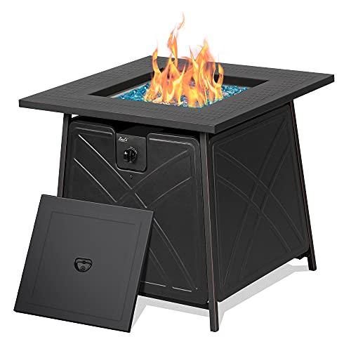 BALI OUTDOORS Firepit LP Gas Fireplace 28' Square Table 50,000BTU Fire Pit, Black