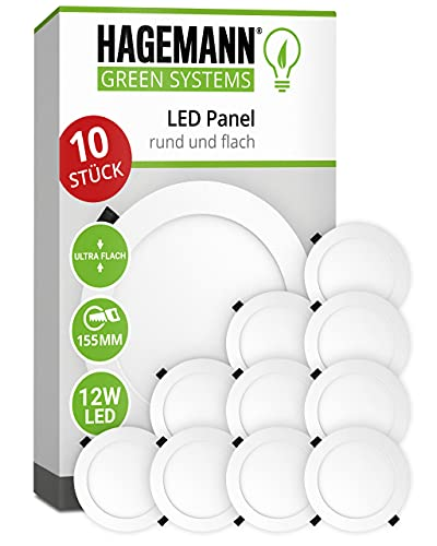HAGEMANN® 10 x LED Panel rund 12 Watt 900lm – Ø 155mm Bohrloch – flach 230V LED Deckenleuchte