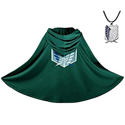 Aoibox 2PCS Anime Cloak - Anime Cosplay Costume Cape with Necklace Green by