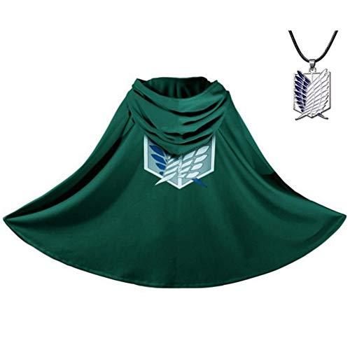 Aoibox Capa Attack On Titan - Anime Cosplay Costume Shingeki No Kyojin Capa com colar verde