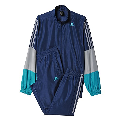 Adidas TS Iconic WV Survêtement Homme, Bleu Marine/Gris/Turquoise, FR : M (Taille Fabricant : 180)