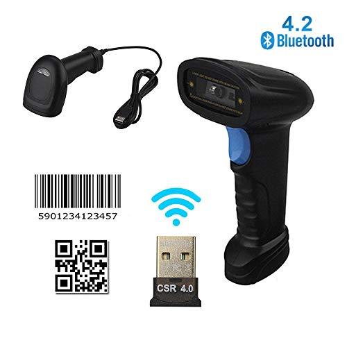 DAETNG Scanner de Codes à Barres sans Fil et USB Bluetooth 4.2, Lecteur de Codes à Barres numérique Optique Laser Rapide et précis avec Balayage continu Automatique et mémoire d'inventaire