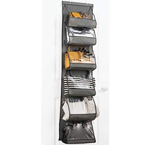 ZOBER Over The Door Purse Organizer & Storage Handbag Organizer with 6 Easy Access Deep Pockets - Durable Metal Hooks, Handbag Organizer with Clear Pockets - Ideal for Scarf, Umbrella/Accessories Etc