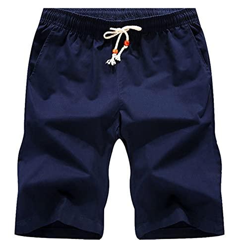 Leezepro Bermuda Pantaloncini Casual da Uomo Shorts in Cotone e Lino con Coulisse e Tasche per Spiaggia Sabbiosa (S, Blu Scuro)