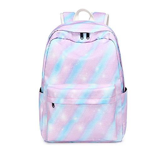 School Backpack Set Rainbow Backpack 14' Laptop Backpack Daypack Kids School Bag with Lunch Bag Pencil Case Rainbow Stripe Package