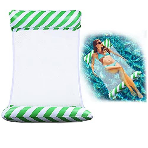 TUXUNQING Aufblasbares Schwimmbett,Gestreifte Aufblasbare Wasserhängematte,luftmatratze Pool,4 in 1 Luftmatratzen.Geeignet für Schwimmbad Erwachsene und Kinder aufblasbare Hängematte (Grün)