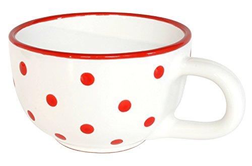 UNGARNIKAT Keramik Jumbo Teetasse Weiß Mit Handbemalten Roten Punkten 0,5 L
