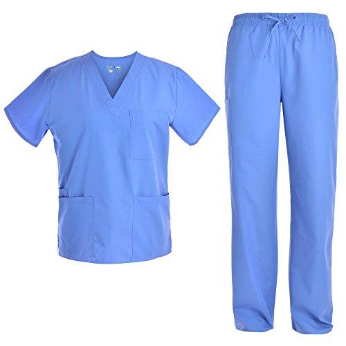 Unisex V Neck Scrubs Set Medical Uniform - Women and Man Nursing Scrubs Set Top and Pants Workwear JY1601 (Ceilblue, L)