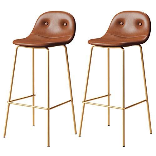 Juego de 2 taburetes de Bar, taburetes de Cuero PU Vintage, taburetes de Interior y Exterior, sillas de Bar de Metal, marrón