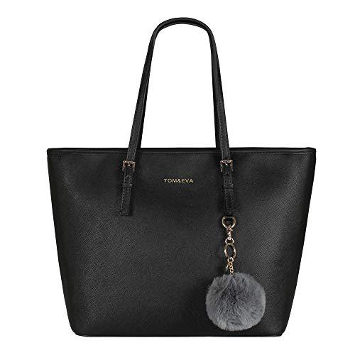 Tom & Eva Damen Handtasche 6228F TE-Jet Set Travel Bag mit Bommel- Anhänger Schwarz Gold
