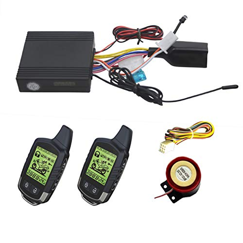 CarBest 2 Way Motorcycle Security Alarm System with Remote Engine Start, Scooter Alarm with Shock Sensor & Motion Sensor