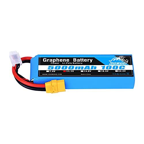 YOWOO Graphene Battery 3S 5000mAh 100C 11.1V LiPo RC Battery with XT90 Plug for 1/8 Scale Vehicles Arrma Slash VXL Slash 4x4 VXL E-maxx Brushless Axial e-revo Brushless and Spartan Models