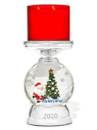 3-Wick Candle Holder Compatible with White Barn Bath & Body Works 3-Wick Candles - Water Globe Santa Pedestal (Candle NOT Included)