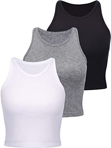 Boao 3 Pieces Women's Cotton Basic Sleeveless Racerback Crop Tank Top Sports Crop Top for Lady Girls Daily Wearing (Black, White, Light Grey, Small)