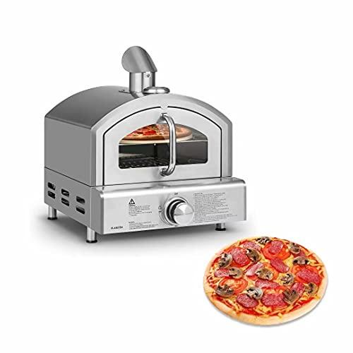 Horno para pizza a gas, horno para pizza al aire libre con piedra para pizza de 13 '/ 33 cm, pizzero portátil de acero inoxidable a gas para jardín, camping, fiesta, catering, evento, patio trasero