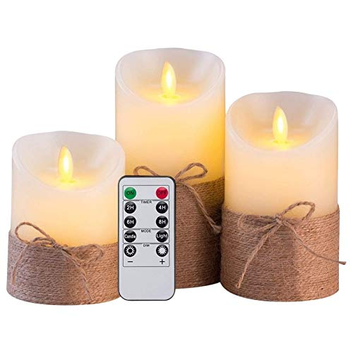 Flameless candle Flameless Candles Battery Operated Simulation Electric LED Candle Set with Remote Control and Timer, with Hemp Rope Flameless candle (Color : Milky white)