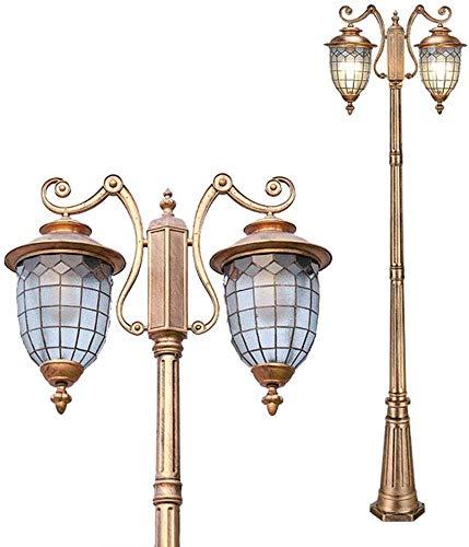 Beautiful Home Decoration lampen Vintage E27 buitenlamp 2-arm Mast buitenlicht lampions hoogte 230 cm tuinlamp van aluminium en diffuser van antiek glas Kandelaar Villa Pathway Landschap