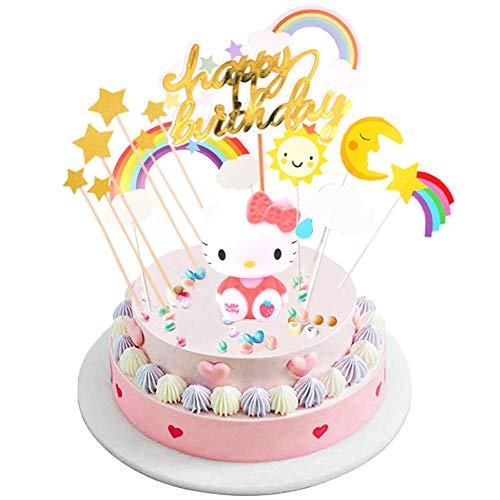 INTVN Tortendeko Geburtstag,Happy Birthday Kuchen Topper,Tortendekoration Kuchendeko,Regenbogen,Wolke,Sterne,Gold Sternen Glitzer,Happy Birthday Topper,Hello Kitty,für Kinder Mädchen Junge
