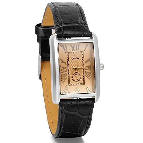 JewelryWe Damen Armbanduhr,Retro Leder Analog Quarz Uhr mit römischen ziffern Zifferblatt, Lieben partneruhren, Schwarz