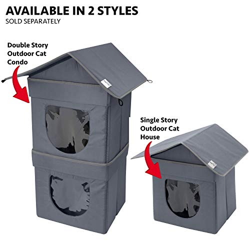 Kitty City 2 Level Outdoor Cat Condo, Large Cat Bed, Stackable Cat Cube, Washable Bed, Indoor Cat House/Condo