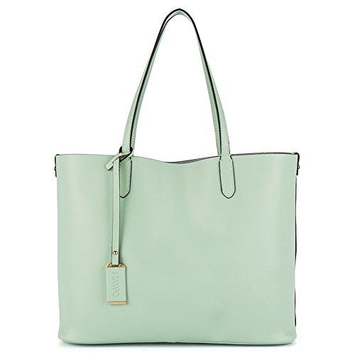 NAWO Designer Handtaschen Leder Schultertasche Shopper Umhängetasche Tote Bag Taschen für Damen Grün