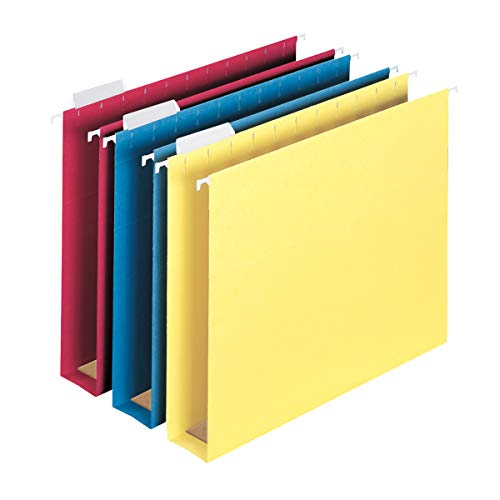 """Smead Box Bottom Hanging File Folder with Tab, 2"""" Expansion, Letter Size, Assorted Colors, 25 per Box (64264)"""