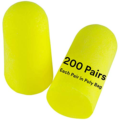 3M Personal Protective Equipment Ear Plugs, E-A-Rsoft Yellow Neons 312-1250, Foam, Uncorded, Disposable, NRR 33, Drilling, Grinding, Machining, Sawing, Sanding, Welding, 1 Pair/Poly Bag, 200 Pair/Box