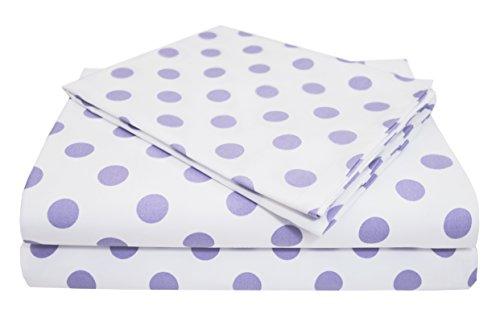 American Baby Company 100% Cotton Percale Toddler Bedding Sheet Set, White/Lavender Dot, 3 Piece