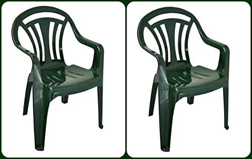 Set of 2 Garden Armchair Seat Low Back Patio Chair Lightweight Indoor & Outdoor Home Lawn Camping Picnic Backrest Stacking Plastic Green