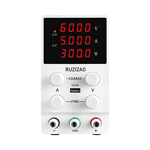 Fuente de alimentación ajustable 60 V 5 A, fuente de alimentación de laboratorio, pantalla LED de 4 dígitos, regulable, estabilizada, pantalla digital