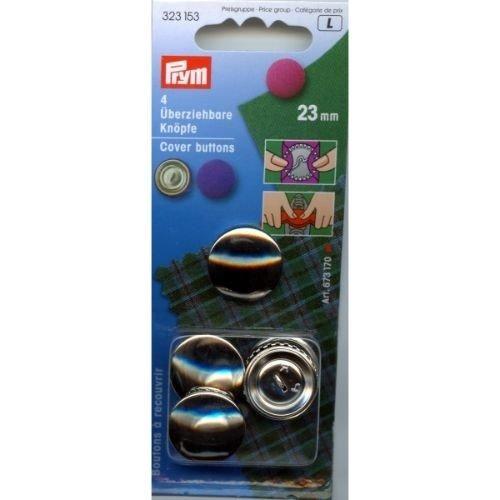 Prym–Botones para forrar, 23mm, Metal, Plata, 9,3x 5,7x 0,5cm